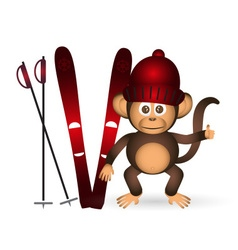 Cute chimpanzee with red winter cap and ski sport vector