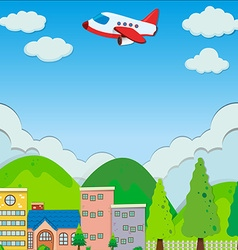 Airplane flying over buildings in suburb vector