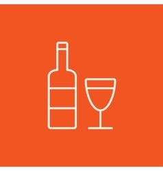 Bottle of wine line icon vector image vector image