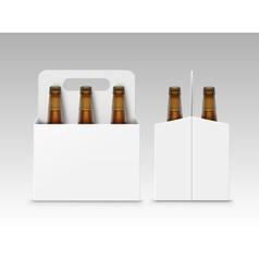 Brown Bottles of Dark Beer with Carton Packaging vector image