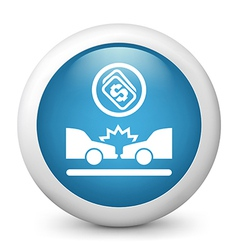 Car Crash glossy icon vector image vector image