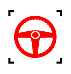 Car driver sign red icon inside black vector