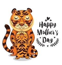 Card for Mothers Day with tigers vector image vector image