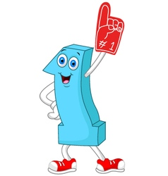 Cartoon number one mascot vector image