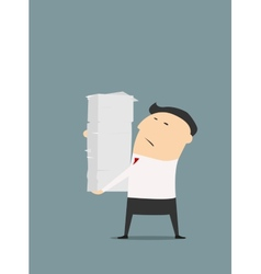 Cartooned businessman with stack of papers vector image