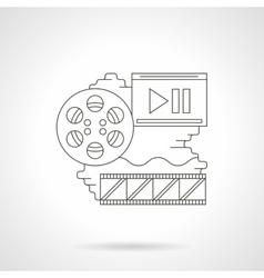 Cinema reel detailed line icon vector image