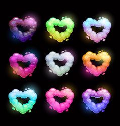 colorful fluffy heart shape clouds vector image