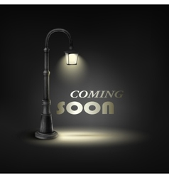 Coming Soon With Under Street Lamp vector image vector image