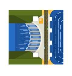 Dam on river from above vector