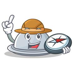 Explorer tray character cartoon style vector