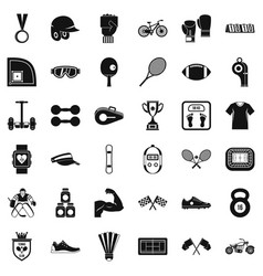 Fitness life icons set simple style vector