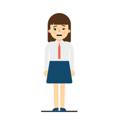 Frustrated young woman in uniform character vector