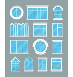 Glass home windows types flat icons vector