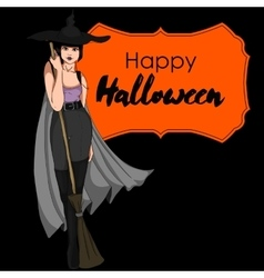 Halloween card with witch vector