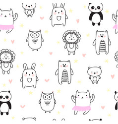 hand drawn seamless pattern for children vector image