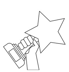 Hand holding trophy star victory honor vector