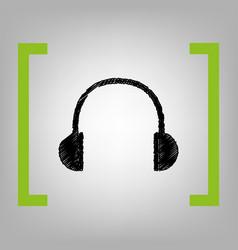 headphones sign black vector image vector image