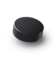 Hockey puck isolated on white with shadow vector