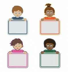 kids holding signs vector image