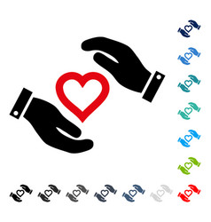 Love heart care hands icon vector