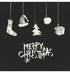 Merry Christmas Greeting On black Postcard retro vector image vector image