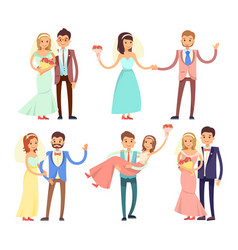 Newlyweds dancing and have fun vector