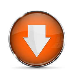 Orange down button with white arrow shiny 3d icon vector