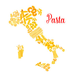 Pasta or italian macaroni italy map vector