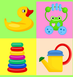 plastic toys for children on colorful backgrounds vector image vector image