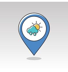 Rain cloud sun pin map icon meteorology weather vector
