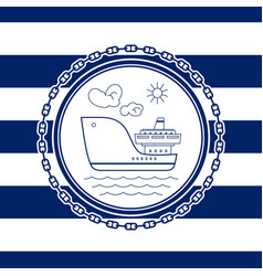 Sea emblem with ship vector