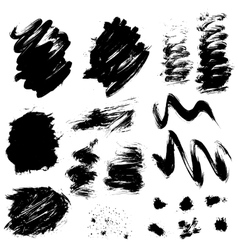 Set of black blots and ink splashes isolated on vector