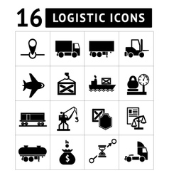 Set of black logistic icons vector image vector image