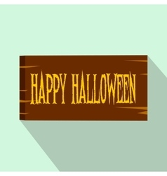 Signboard happy halloween flat icon vector