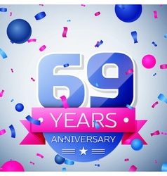 Sixty nine years anniversary celebration on grey vector