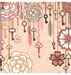 Vintage background with flowerskeys and feathers vector image vector image
