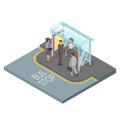 3d isometric of bus stop vector