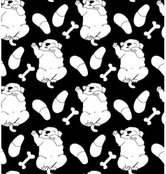 Puppy cute rest sleep relax seamless pattern black vector