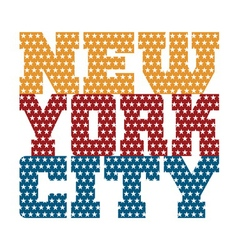 T shirt typography new york blue red orange stars vector