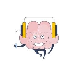 Brain listening music comic character representing vector