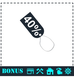 40 percent discount icon flat vector