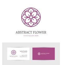 Linear purple flower logo vector image