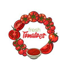 Round frame of tomatoes salsa ketchup bowl vector