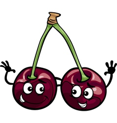 Black cherry fruits cartoon vector