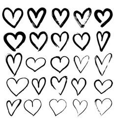 Set of hand drawn hearts vector