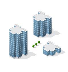 isometric 3d dimensional skyscraper building of vector image
