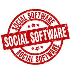 Social software round red grunge stamp vector