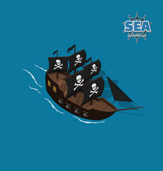 Pirate sailer on a blue background vector