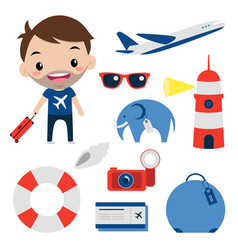 Travel set flat icons smiling tourist editable vector