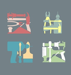 Set logos construction tools vector